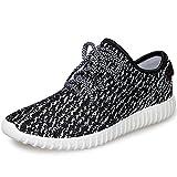 JACKSHIBO Men Women Unisex Couple Casual Fashion Sneakers Breathable Athletic Sports Shoes, Women 7.5(M)US 40EU/Men 8(M)US 40EU, Black White
