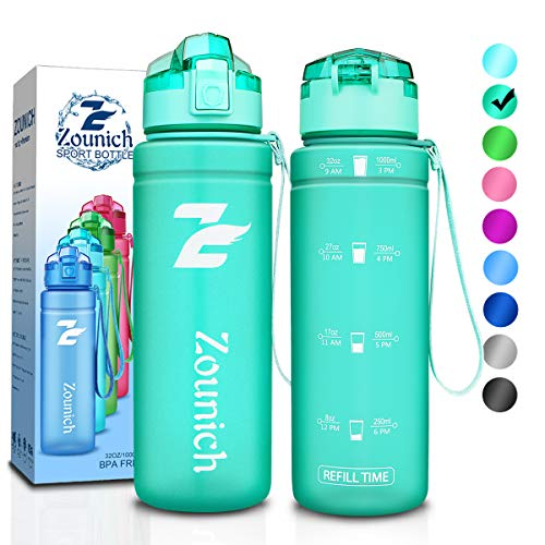 Premium Sports Water Bottle with Motivational Time Marker - 40 oz, 32 oz/1 liter, 24 oz, 16 oz, Kids Water Bottle BPA free Small Leak proof & Lockable Lid, for Bike, Cycling, Running, Camping, Gym