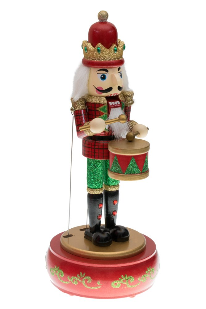 Clever Creations Drummer Nutcracker Music Box Mouth and Arms Move with Music | Wearing Red and Green Uniform | Festive Christmas Decor | Perfect for Any Collection | 100% Wood | 13'' Tall