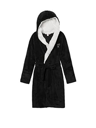 7f51efd4f0 Victoria s Secret Cozy Hooded Sherpa-Lined Plush Short Robe at ...