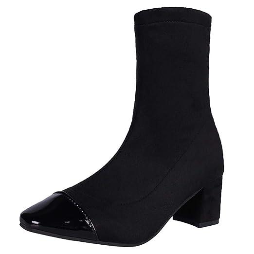 ef2e39e673344 Amazon.com: Hunzed Women Shoes Short Tube Round Head Suede Square ...