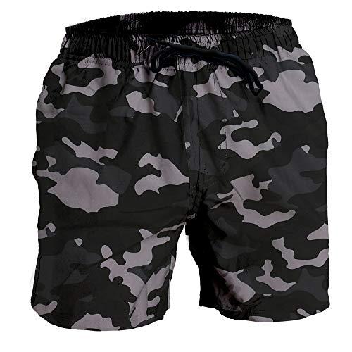 (Fort Isle Mens Stretch Swim Trunks - XL - Gray Camo - Quick Dry 4-Way Stretch - Bathing Suit)