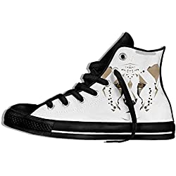 NAFQ Leopard Illustration Classic Canvas Sneakers Shoes Lace Up Unisex High Top