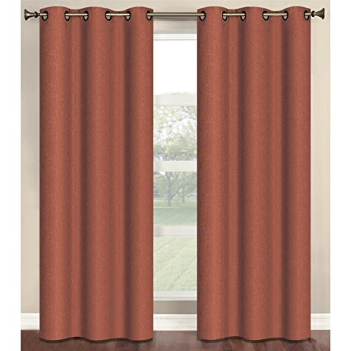 Bella Linens Bed (Bella Luna Marina Faux Linen Room Darkening 76 x 84 in. Grommet Curtain Panel Pair, Cinnamon)