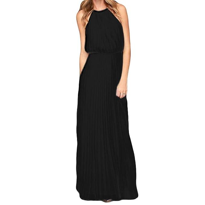 MIOIM® Elegante Vestido Sin Mangas de Maxi Vestido de Gasa Halter Vestidos de Fiesta Vestidos