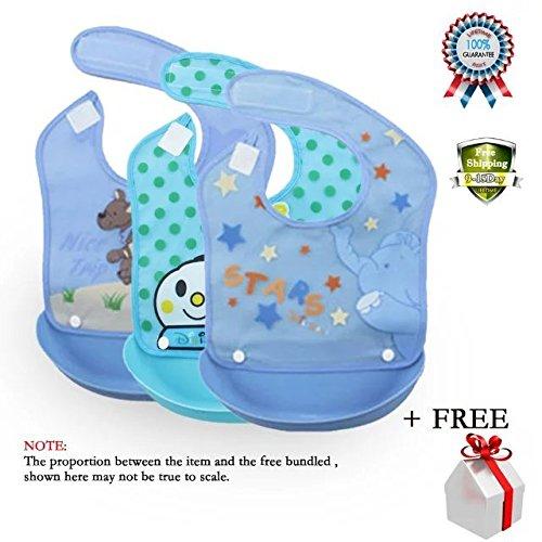 COFFLED Pack of 3 Baby BPA Free Silicone Bucket Bib Food Cat