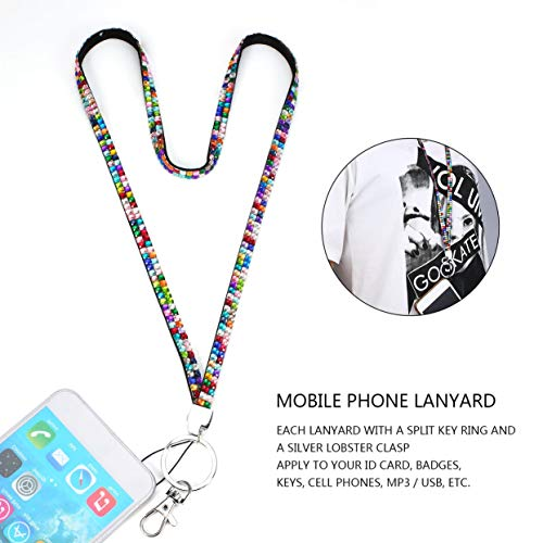 Mobile Phone Straps,Unisex Rhinestone Crystal Bling Custom Neck Lanyard & ID Badge Cellphone Key Holder Ring For Casual Sport