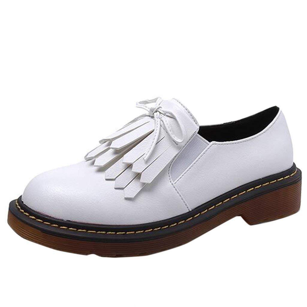 Fuxitoggo Damen Quaste Bowknot Slip auf Pumps Größe (Farbe   Weiß, Größe Pumps   6 UK) 4b5619