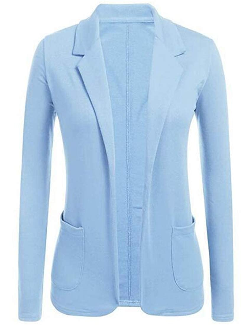 EJLJ Women Long Sleeve Notched Lapel Blazer Jacket Suit Coat