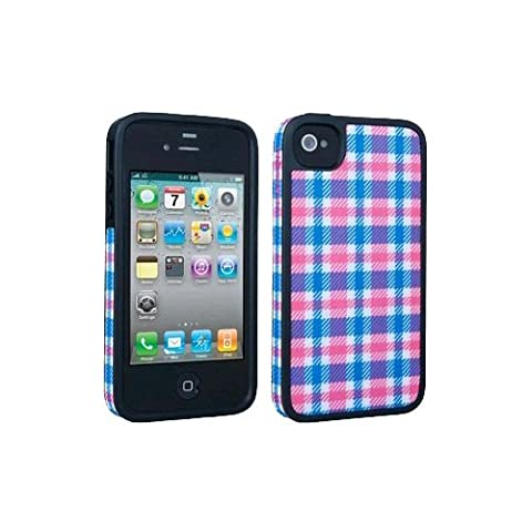 Speck AIP4SKCOVPB Fitted Hard Case with Fabric for Apple iPhone 4 & 4S, Plaid Pink & Blue (Speck Iphone 4s Phone Case)