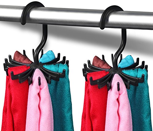 Revolving Tie Belt Hanger Holder / Organizer - Tie Rack - Adjustable Pack of 2 Hanger - Hooks Ties Scarf For Closet Organizer - by Utopia Home