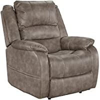 Ashley Furniture Signature Design - Barling Luxury Faux Leather Power Recliner w/ Adjustable Headrest - Contemporary - Mushroom