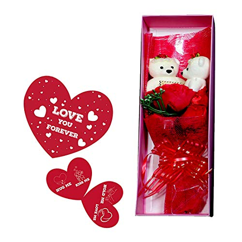Sky Trends Artificial Rose with 2 White Teddy Bouquet Flower Set and Gift Box  Multicolour