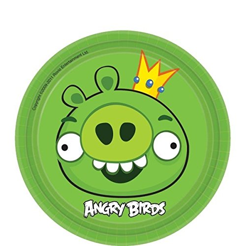 amscan Angry Birds Adventure Birthday Party King Pig Round Dessert Plates (Pack of 8), Green, 7""