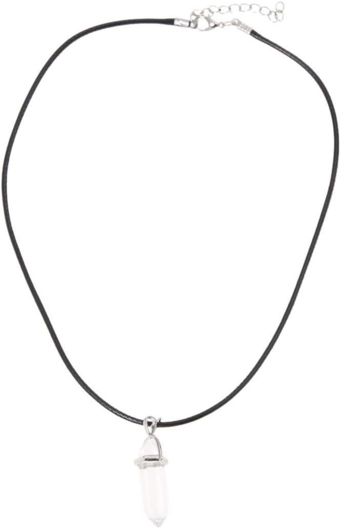 RETYLY Collar Colgante de Cuarzo de Piedras Preciosas Naturales de curacion de Arte Clasico con Cuerda Colgante Collar Transparente