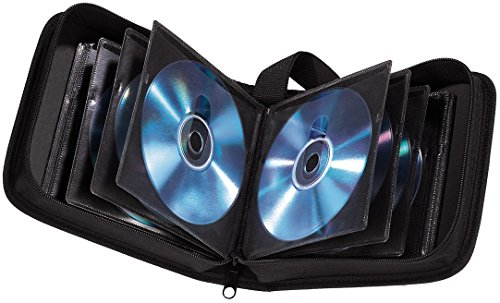 Hama CD Tasche für 40 CDs/DVDs/Blu-rays, Mappe zur Aufbewahrung, schwarz