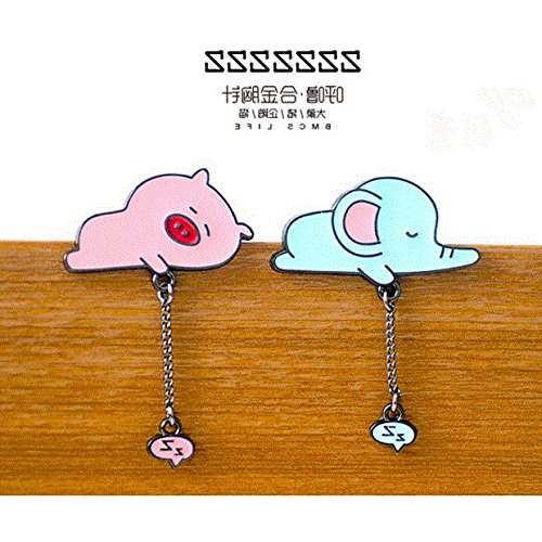 (Eight new insect community snoring alloy brooch elephant / pig Penguin / cute cat collar pin brooch personalized jewelry)