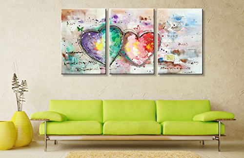 Everfun Handmade Abstract Oil Painting on Canvas 3 Panels Loves Heart Hand Painted Art Modern Texture Artwork Wall Decoration Framed Ready to Hang by EVERFUN ART (Image #2)