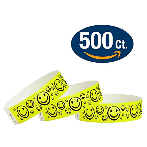 Yellow Smiley's - Wristco 3/4' Tyvek Wristbands - 500 Ct.