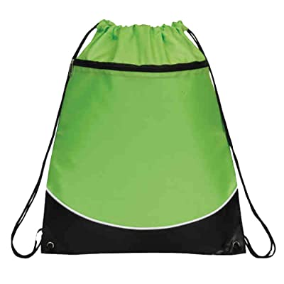 Deluxe Cinch Drawstring Two Tone Backpack Bookpack Bag, Lime Green by BAGS FOR LESS