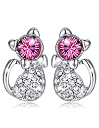 MARENJA Crystal-Women's Cat Stud Earrings White Gold Plated Austrian Crystal Pink