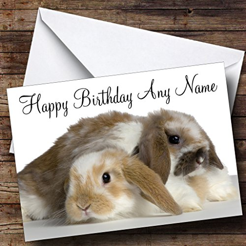 (Two Adorable Bunny Rabbits Personalized Birthday Greetings)