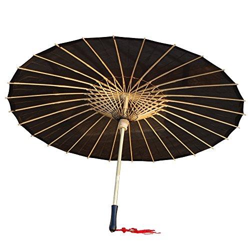 AEAOA Plain Bamboo Cloth Parasol Umbrella Great for Wedding Party Favor (Black)]()