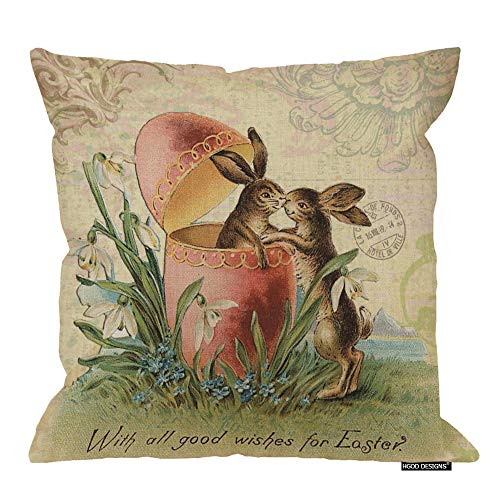 Design French Linen (HGOD DESIGNS Happy Easter Throw Pillow Cushion,Vintage French Easter Bunnies Kiss Design Cotton Linen Polyester Decorative Home Sofa Couch Desk Chair Bedroom 18x18inch)