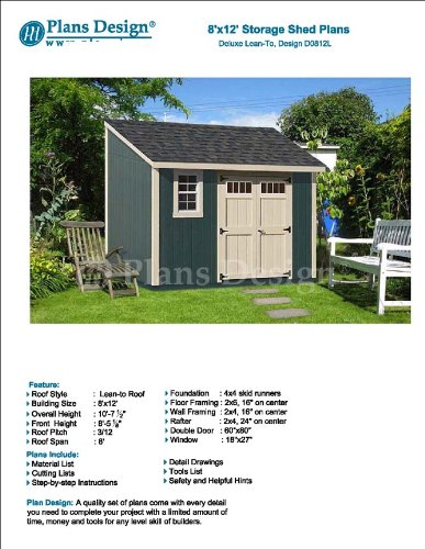 8 X 12 Deluxe Storage Shed Plans Building Blueprints Lean To