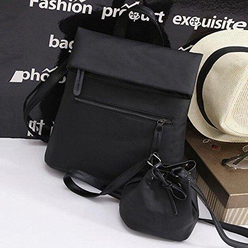 XENO-Fashion Handbags Women Leather Travel Shoulder Satchel Backpack School Bags(black) by Xeno