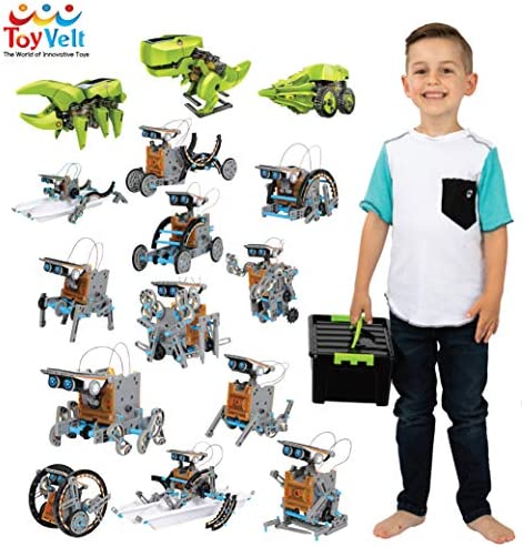 ToyVelt 12 in 1 Solar Robot Kit Plus A 3 in 1 Solar Building Toy and A Beatiful Storage Container Solar Powered by The Sun STEM Toys for Boys and Girls Ages 89101112 Years Old