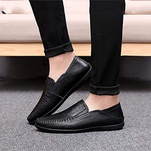 y Hombres Cuero YaXuan Marrón Confort Mocasines Negro para Primavera para Perezosos Slip Rojizo Marrón Zapatos UN Conducir Moda Mocasines de Ons Otoño Amarillo fIxxw8St