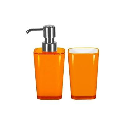 Accesorios de baño Set – 2 piezas – Dispensador de jabón líquido y vaso alto para