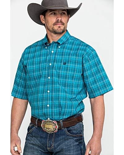 Cinch Men's Med Plaid Short Sleeve Western Shirt Teal - Western Ranch Shirt
