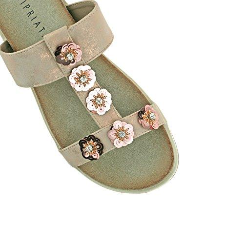 Pewter Gold EU Sandals Ladies Gold Mule 4 KD 37 Flower Shimmer Cipriata L522 Diamante UK Light 1BtEnRBW8