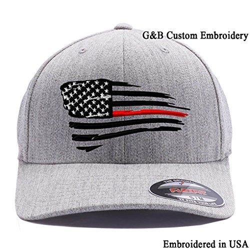 Flexfit Thin Red Line Waving USA Flag. Embroidered, 6477 Wool Blend Cap hat (S/M Heather - Embroidered Hat Wool