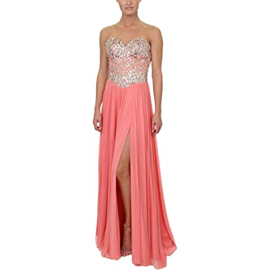 b68d0f1592 Glamour by Terani Couture Womens Embellished Strapless Formal Dress Pink 0