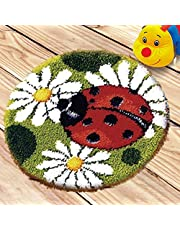 DIY Latch Hook Kits Rug Cushion Crochet Kits for Home Decor, Cushion Embroidery Carpet Set for Kids Adults with Printed Canvas Pattern 50 x 50cm(20 Inch x 20 Inch) (Ladybug)