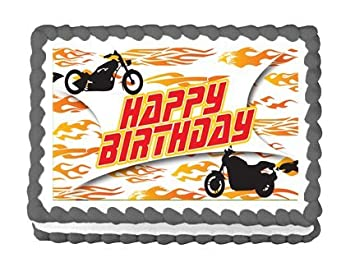 Image Unavailable Not Available For Color CakeSupplyShop Item46157 Happy Birthday Motorcycle Edible Cake Topper