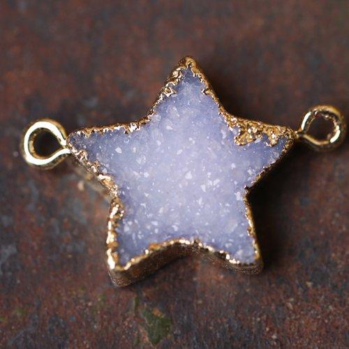 Druzy Geode Star Pendant Raw Geode Crystals Charm Handmade Gemstone Jewelry for Birthday Present