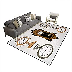 Carpet,Vintage Styled Clocks Arrangement Old Fashioned Pattern in Antique Theme Design,Area Silky Smooth Rugs,Umber and Beigesize:6'x9'