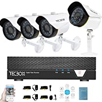 Tecbox Home Security Camera System AHD 4 Channel DVR (No Hard Drive) with 4 Weatherproof Indoor/Outdoor 1.5MP 60feet Night Vision Motion Detection Remote View Surveillance Cameras