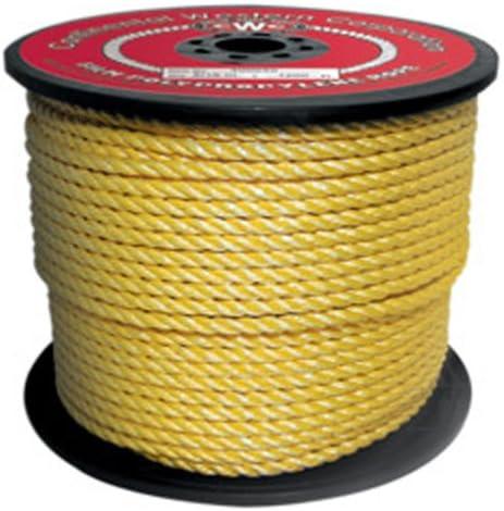 "Yellow 3//8"" X 600' Polypro Rope"