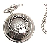Engraving included - Pocket watch - Solid pewter fronted mechanical skeleton pocket watch - Claddagh design 61