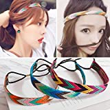 GAIHU 4 Packs Headdress Vintage European And American Hair Accessories Woven Hairbands Bohemia Women's Hairbands