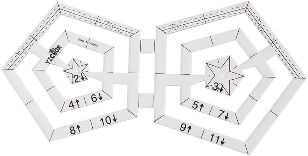 for Quilting and Sewing Multi-Precision Round//Triangle//Pentagon//Hexagon Quilting Ruler Multi-Purpose Patchwork Ruler Quilting Ruler Quilting Template Ruler Urnanal Acrylic Sewing Ruler