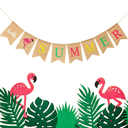 Hello Summer Burlap Banner Rustic Summer Banner with Flamingo Pattern Summer Garland Flag Decoration for Pool Party, Beach Party, Barbecue Party (Color Set 1)]()