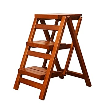 Ibuprofen Silla Taburete Escalera Taburetes Escaleras de Cocina Taburete con Peldaños Escalera Plegable de Madera Maciza Antideslizante/Escalera Multiusos: Amazon.es: Deportes y aire libre
