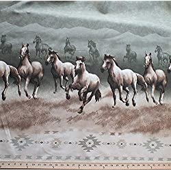"100"" Extra-Wide Canvas Running Horses Equestrian Southwestern Border Print Cotton Blend Duck Fabric by The Yard (3289Z-5J)"