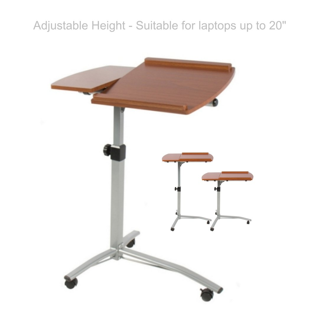 Height Adjustable Rolling Laptop Notebook Smartphone Table Stand Portable Rolling Carts Living Room Food Tray School Home Office Furniture - Set of 2 #1825(2)